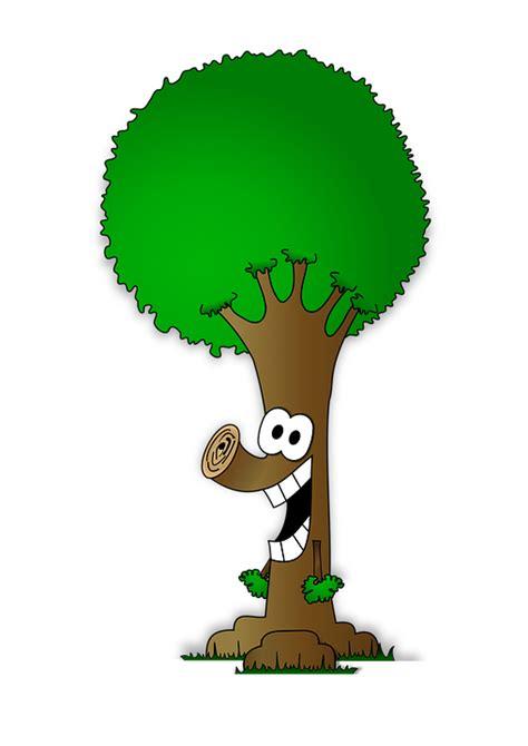kostenlose illustration comic baum gruen lachen