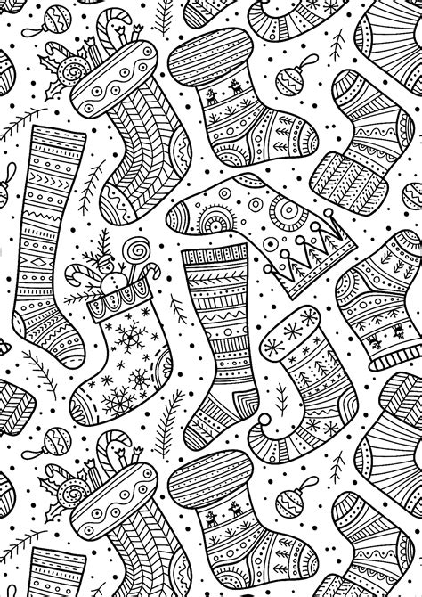 jolies chaussettes de noel noel coloriages difficiles