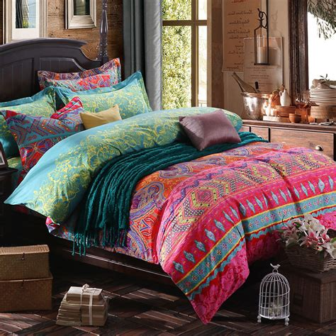 colorful bohemian bedding chinese traditional cotton bedding set full queen king colorful baroque boho home textiles flat