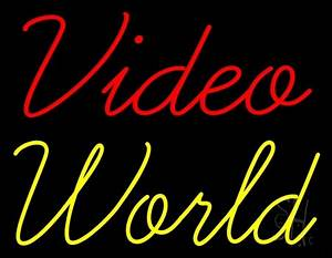 Red Video Yellow World Neon Sign