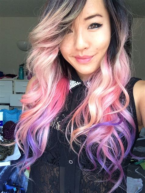 Pastel Pink Dip Dyed Purple Ombre Hair Color