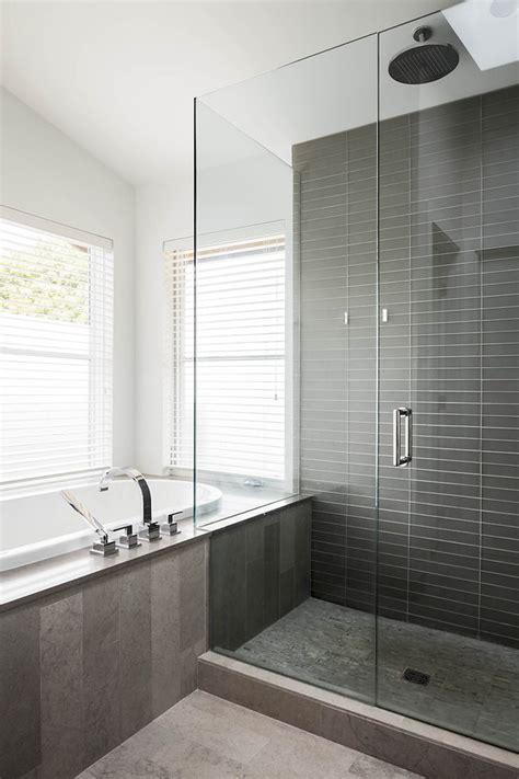 grey shower tile bathroom contemporary
