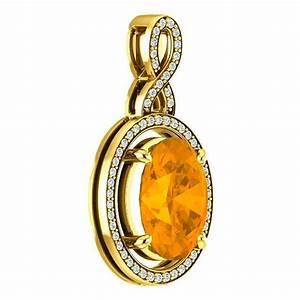 11x9mm 3 Carat Citrine & Diamond 18k Yellow Gold Necklace ...