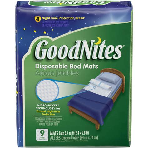 goodnites disposable bed mats jumbo pack 9 count