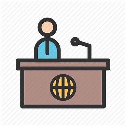 Desk Reporter Studio Tv Anchor Icon Broadcast