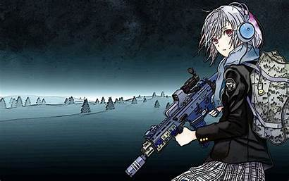 Anime Wallpapers Headphones Gun Cool Rifle Assault