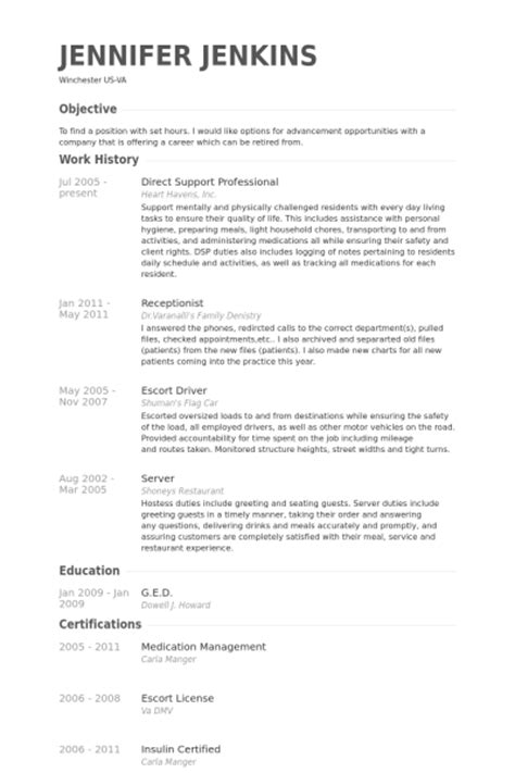 direct support professional resume sles visualcv