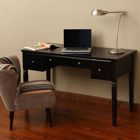 Black Writing Desk With Drawers by Cami Black 3 Drawer Writing Desk Contemporary Desks