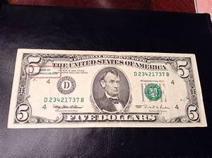 1995  5 Bill American Currency Five Dollar Note F Usa