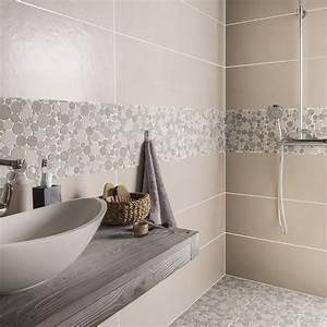 mosaique sol et mur splash taupe et beige leroy merlin With salle de bain design avec idée décoration mariage pas cher