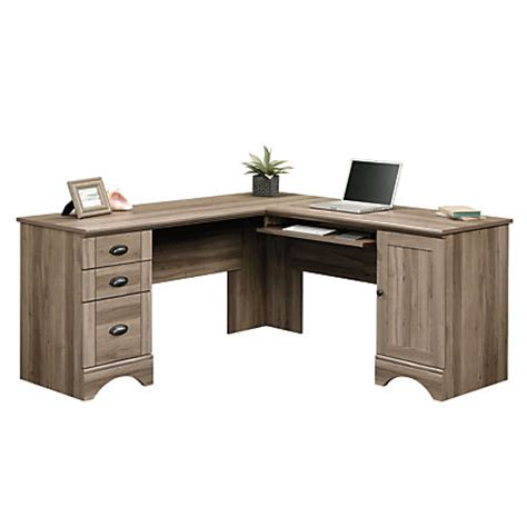 officemax white corner desk sauder harbor view corner computer desk salt oak by office