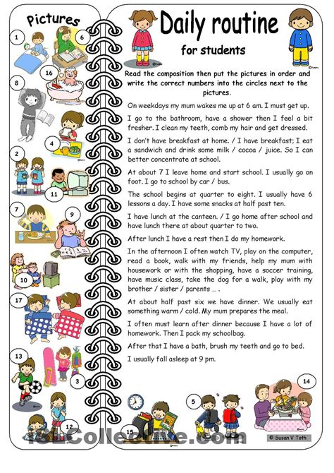 daily routines for students elementary with key ด