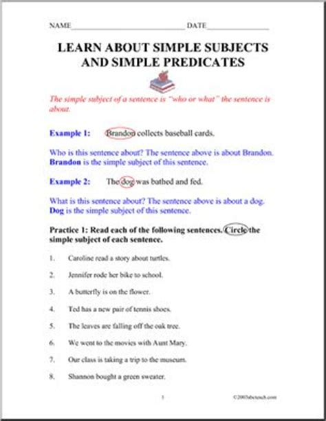 grammar simple subjects and simple predicates abcteach