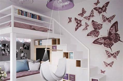 chambre fille mezzanine déco murale chambre enfant papier peint stickers peinture