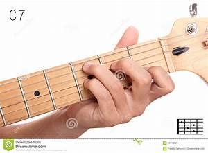 C Dominant Seventh Guitar Chord Tutorial Stock Image