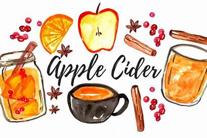 Cider Apple Clipart Fall Watercolor Graphics M1