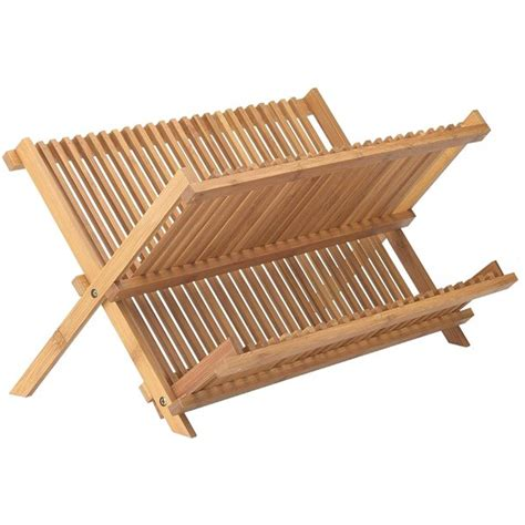 bamboo dish drying rack  tier folding collapsible    inches organic wooden
