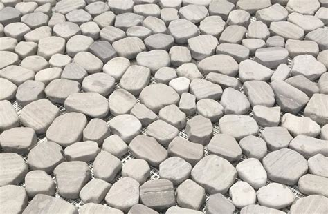 Sliced Pebble Tile Canada by Silver White Oak Pebbles Flat Finish Mesh Mosaic Tile