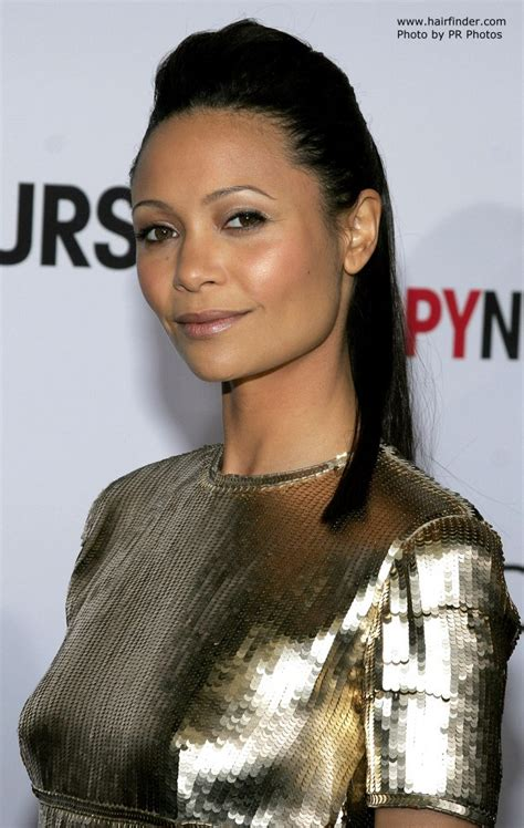thandie newton high hair updo  ponytail rounded
