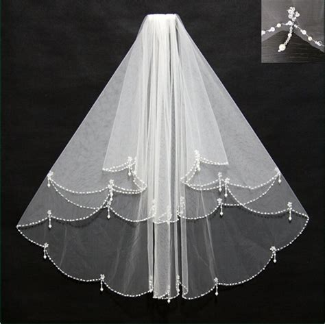 Whiteivory Beaded Edge Pearl Sequins Wedding Bridal Veil