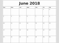 June 2018 Calendar Printable Monthly Printable Calendar 2018