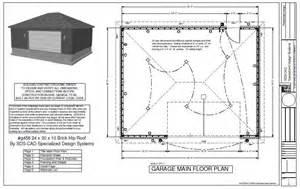 Garage Building Plan Photo by G456 24 X 30 X 10 Hip Brick Eave Side Doors Garage Plan