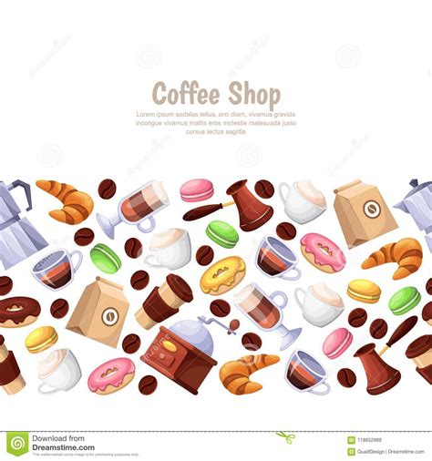 Are you searching for coffee shop png images or vector? Coffee Shop, Desserts, Vector Horizontal Seamless ...