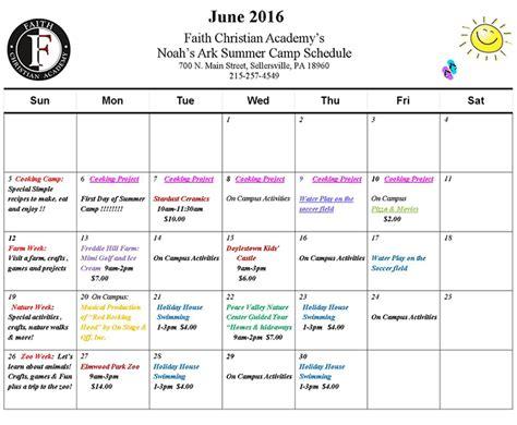 daycare summer camp 861 | june schedule