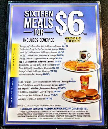 Waffle House Menu 5 Dollar
