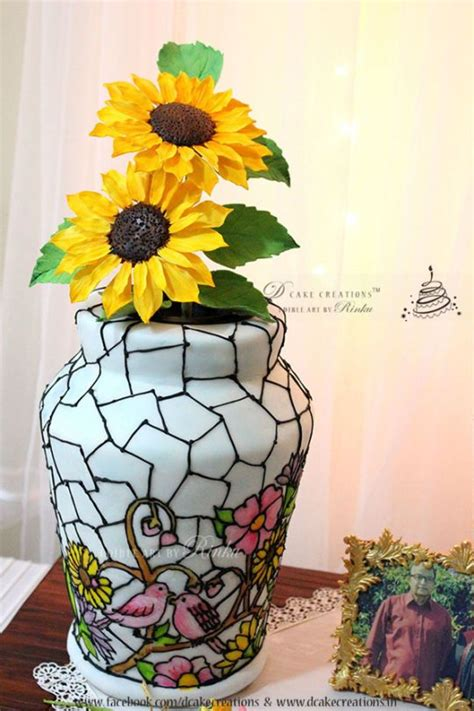pretty sunflowers   fun stained glass vase cake