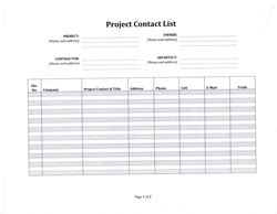 Project Management Contact List Template by Construction Project Contact List Template 5 99