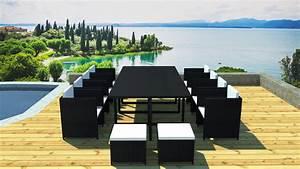 Salon De Jardin 12 Places : salon de jardin r sine encastrable 12 places noir cru ~ Teatrodelosmanantiales.com Idées de Décoration