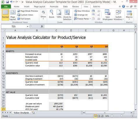 analysis calculator template  excel