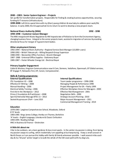 v senior project manager resume v 2