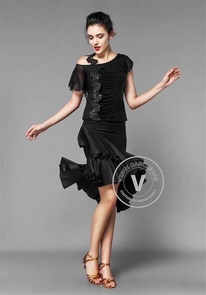 Dance Bare Shouldered Applique Latin Skirt Ruffle