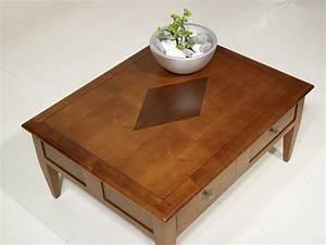 Table Bois Rectangulaire : table basse rectangulaire 100x80 en merisier de style ~ Teatrodelosmanantiales.com Idées de Décoration