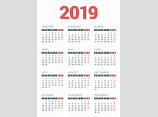 Calendar for 2019 Year on White Background Week Starts