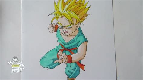 draw kid trunks super saiyan ssj youtube