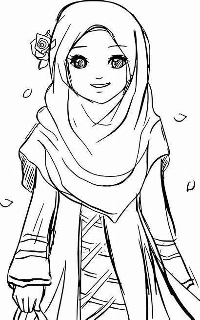Coloring Muslim Islamic Hijab Pages Cartoon Drawing