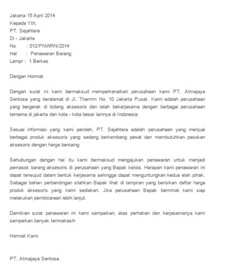 Contoh Surat Penawaran Barang by Contoh Beberapa Surat Penawaran Barang Dan Jasa Yang