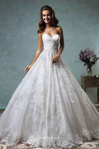 Princess Strapless Sweetheart Lace Tulle Backless Ball ...
