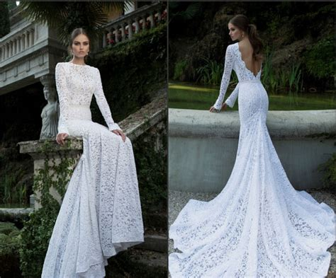 2014 Berta Vintage Lace Sexy Backless Wedding Dresses Open