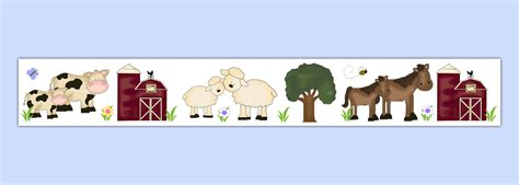 Farm Animal Wallpaper Border - barnyard farm animal wallpaper border wall decal nursery
