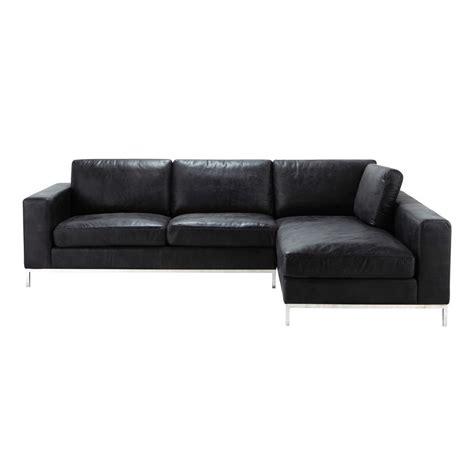 canapé cuir noir but canapé d 39 angle vintage 4 places en cuir noir
