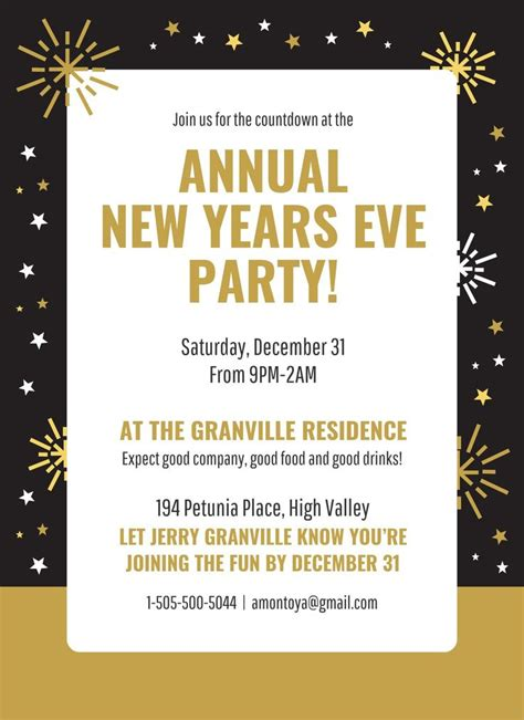 10 New Year Invitation Template in 2020 New years eve