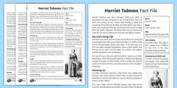 Harriet Tubman Differentiated Fact File  Harriet Tubman Worksheets