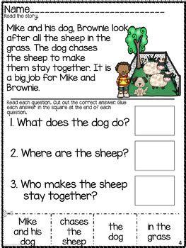 wh questions comprehension worksheet cut paste by superteach56