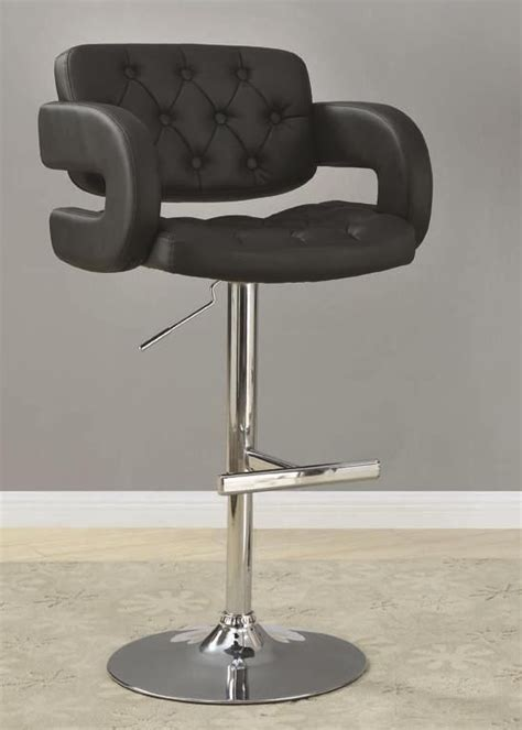 black and chrome adjustable height bar stool chair by
