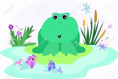 Pond Clipart Cartoon Fish Fishpond Frog Cattail