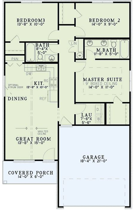 starter home floor plans starter home plan with vaulted ceilings 60634nd